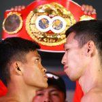 Jerwin Ancajas vs Ryuichi Funai faceoff 150x150 - Photos: Beterbiev-Kalajdzic, Ancajas-Funai make weight in Stockton