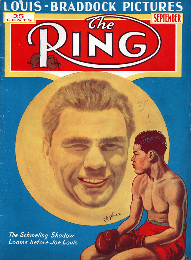 Joe Louis Ring cover Schmeling shadow September - The Ring Archives: Born on this day: Joe Louis – part one