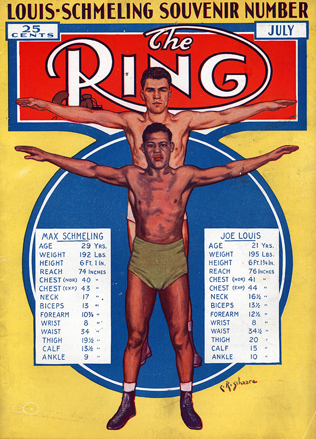 Louis vs. Schmeling Tale of the Tape Ring cover - The Ring Archives: Born on this day: Joe Louis – part one