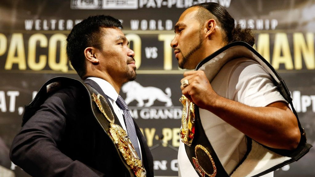 manny pacquiao keith thurman o3zn4krypqf916yxor22d5t9n 1024x576 - Freddie Roach: 'Keith Thurman is a good fighter, but his last three fights, he's looked worse and worse'