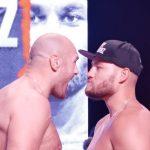 Fury Schwarz weigh in staredown 150x150 - Watch: Tyson Fury-Tom Schwarz weigh-in