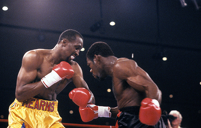 Iran Barkley and Thomas Hearns exchange Ring - From The Archive: On This Day: Iran Barkley upsets Thomas Hearns for WBC middleweight title