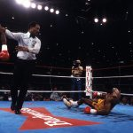 Iran Barkley drops Thomas Hearns Ring 150x150 - From The Archive: On This Day: Iran Barkley upsets Thomas Hearns for WBC middleweight title