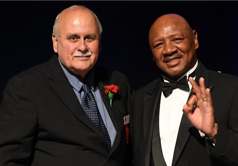 Top Rank publicist Lee Samuels (left) and Marvelous Marvin Hagler. Photo courtesy of the International Boxing Hall of Fame and Top Rank