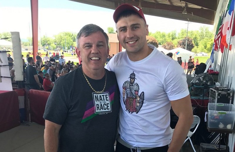 commentator Teddy Atlas (left) and WBC and lineal light heavyweight champion Oleksandr Gvozdyk. Photo courtesy of the International Boxing Hall of Fame