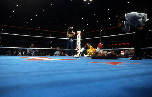 Thomas Hearns on his back 1st Barkley fight Ring - From The Archive: On This Day: Iran Barkley upsets Thomas Hearns for WBC middleweight title