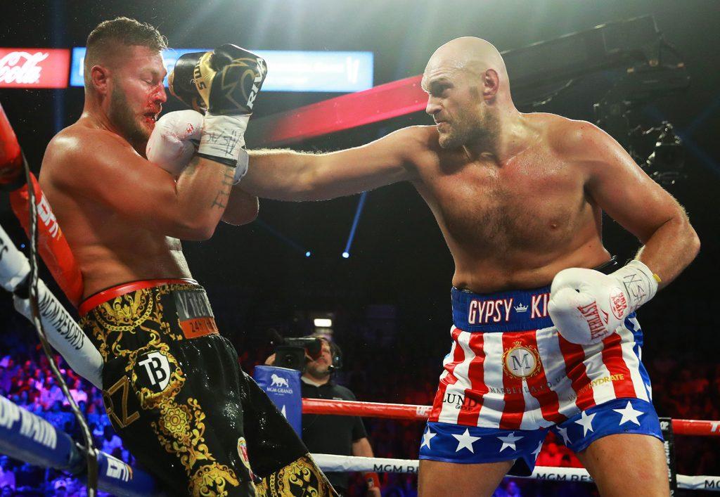 Tyson Fury vs Tom Schwarz action3 1024x707 - Tyson Fury batters outclassed Tom Schwarz to second round TKO in Vegas debut
