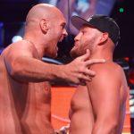 Tyson Fury vs Tom Schwarz faceoff2 150x150 - Photos: Tyson Fury weighs 263, Tom Schwarz checks in at 245.5