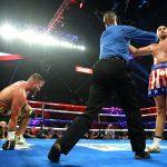 Tyson Fury vs Tom Schwarz knockdown 150x150 - Tyson Fury batters outclassed Tom Schwarz to second round TKO in Vegas debut