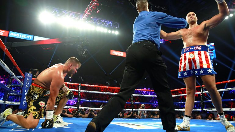 Tyson Fury batters outclassed Tom Schwarz to second round TKO in Vegas debut
