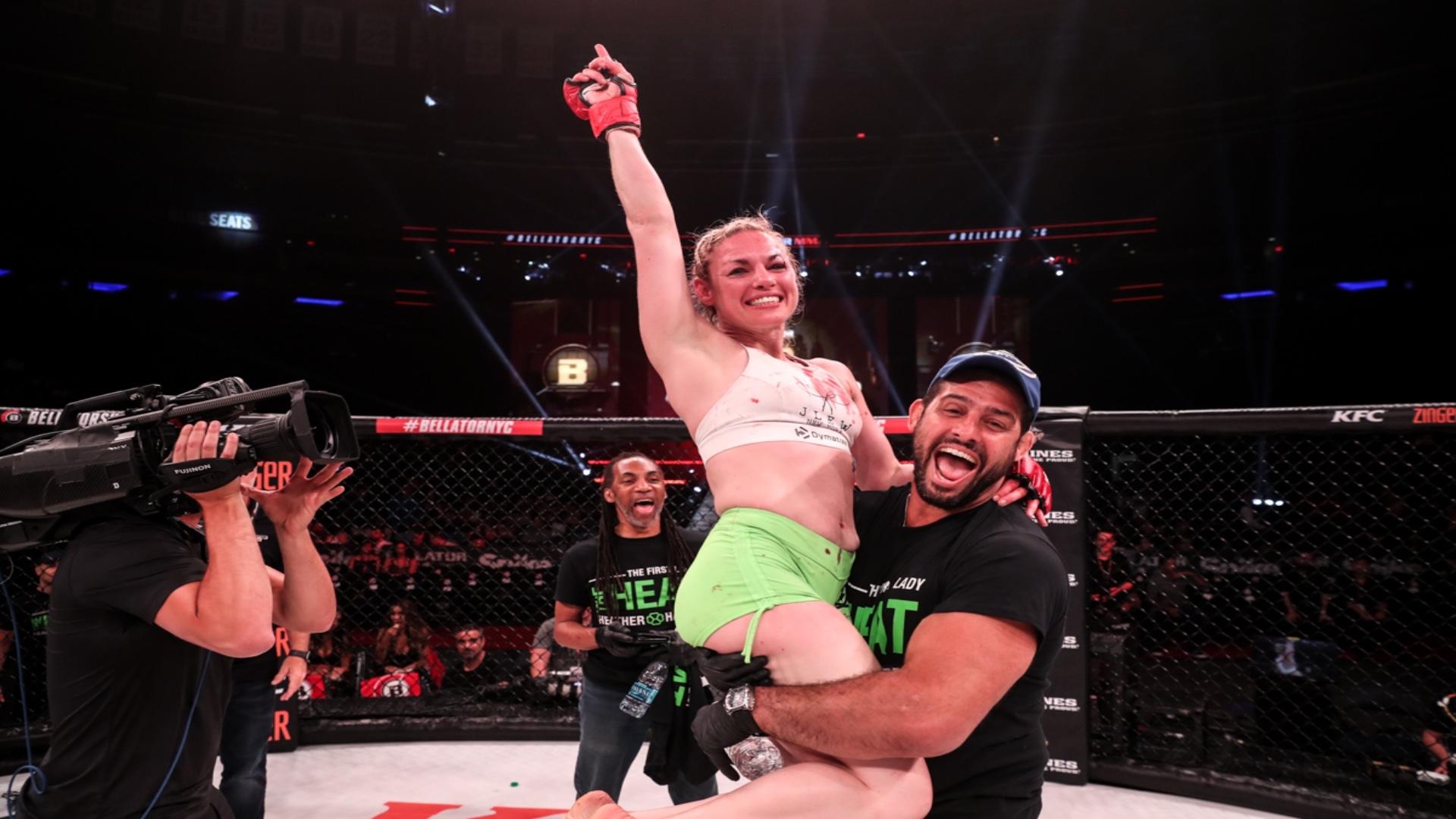 WBO female featherweight titlist Heather Hardy after a match in Bellator MMA