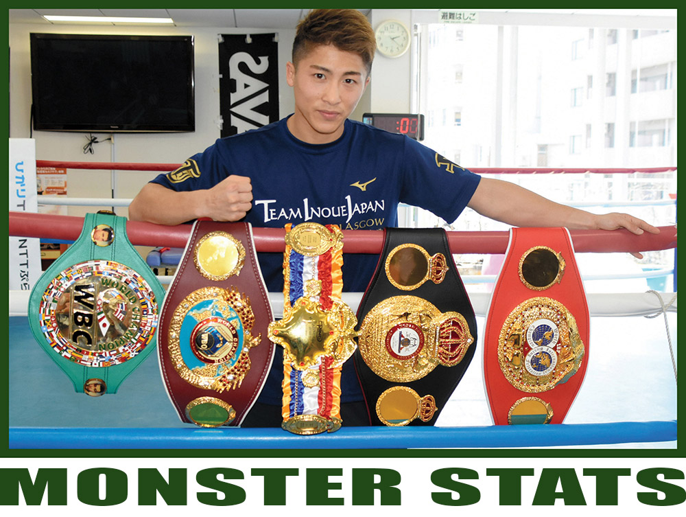 Naoya Inoue's title belt collection is almost as impressive as Vasiliy Lomachenko's.