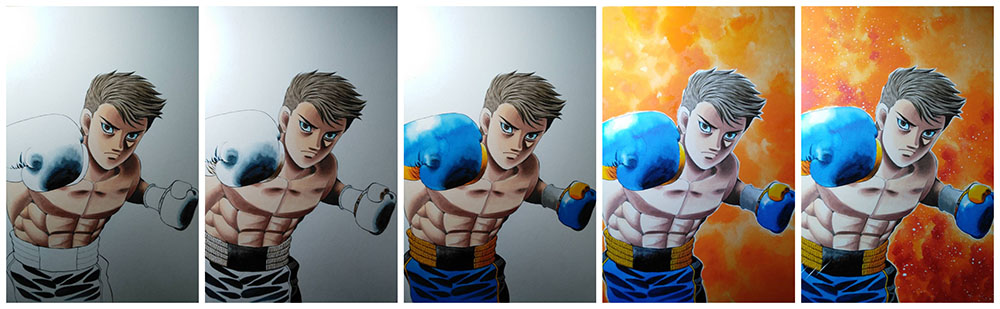 Inoue cover progression - Naoya Inoue cover art designed by acclaimed manga author George Morikawa