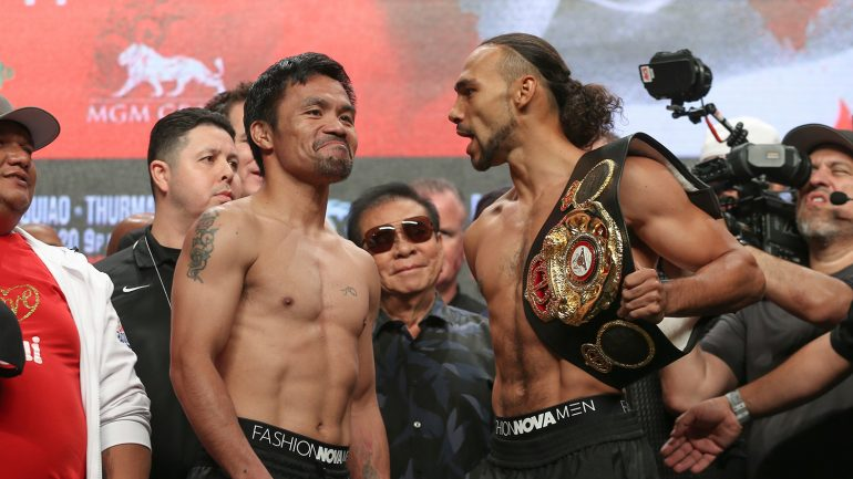 Photos: Manny Pacquiao, Keith Thurman both weigh-in at 146.5 pounds