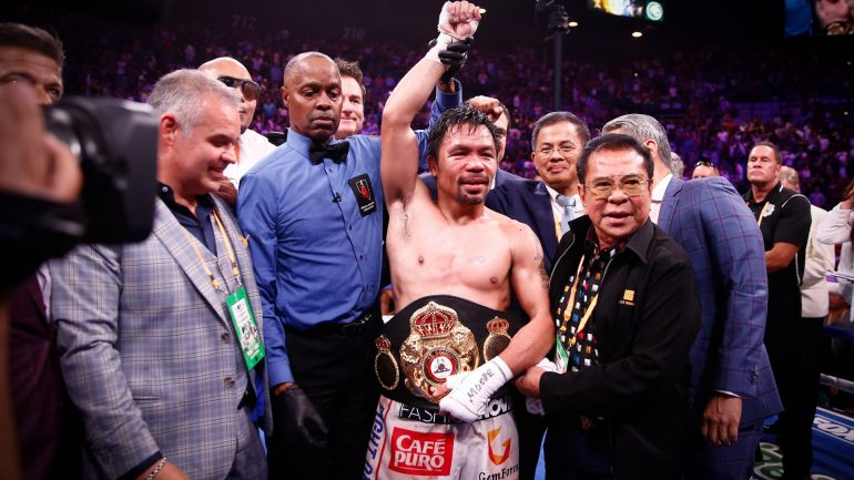 Watch: Manny Pacquaio-Keith Thurman post-fight press conference (podium comments, media Q&A)