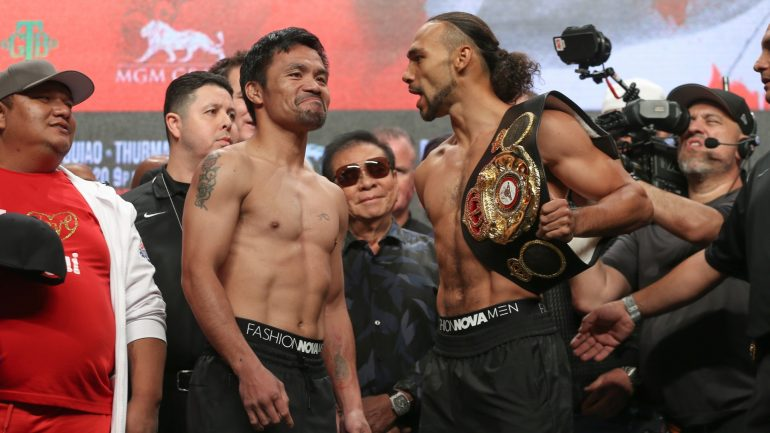 Watch: Manny Pacquiao, Keith Thurman hit the scales in Vegas