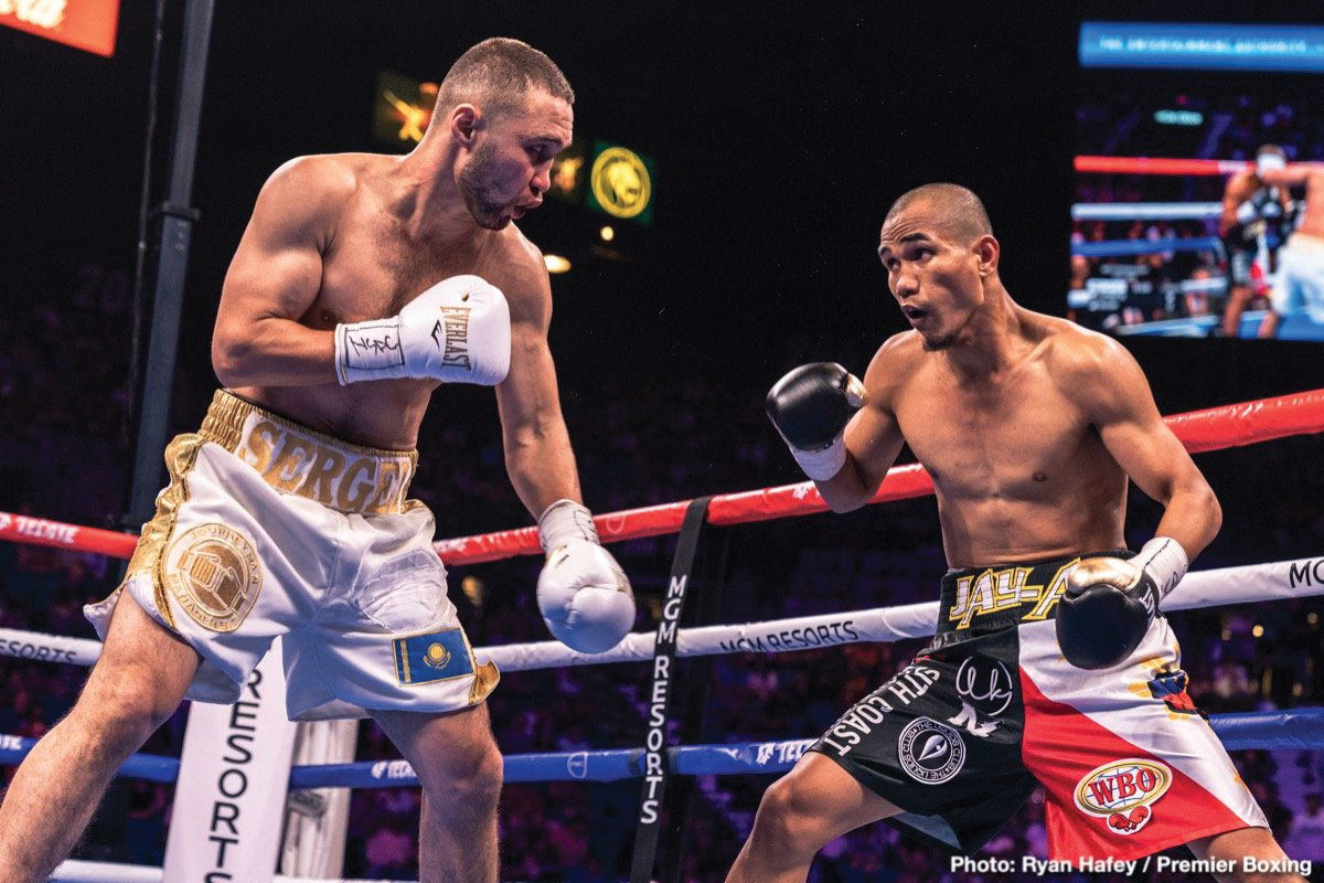 Sergey Lipinets (left) vs. Javar Inson. Photo credit: Ryan Hafey/Premier Boxing Champions