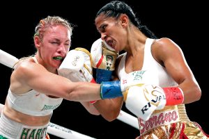 Amanda Serrano (right)_ vs. heather Hardy. Photo by Ed Mulholland/Matchroom Boxing USA