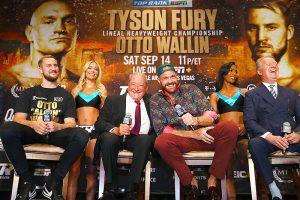Bob Arum  Tyson Fury Frank Warren laugh Williams 300x200 - Tyson Fury keeps focus on Otto Wallin going into second Las Vegas main event