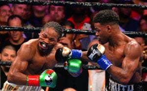 Errol Spence Jr. (right) scored a knockdown of Shawn Porter in the 11th and prevailed by scores of 116-111 on two cards to unify two of the welterweight title belts. Photo by German Villasenor