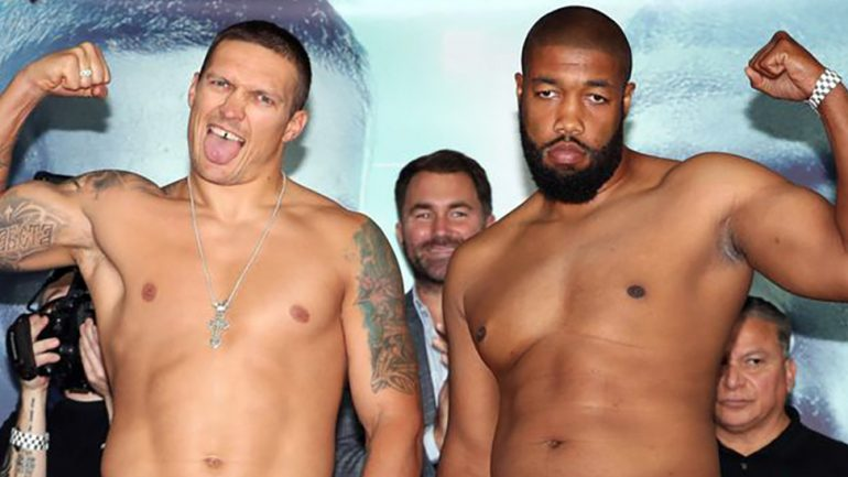 Aleksandr Usyk weighs 215 pounds for heavyweight debut against Chazz Witherspoon