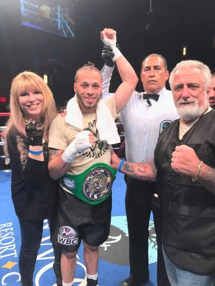 Manager Jackie Kallen, junior welterweight Mykquan Williams and trainer Paul Cichon. Photo Credit: Emily Harney/Team Williams
