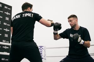 Josh Taylor during a media workout at McGuigans Gym ahead of his WBSS Final against Regis Prograis at the O2 Arena on 26th October 2019. 9th October 2019 Picture By Mark Robinson.