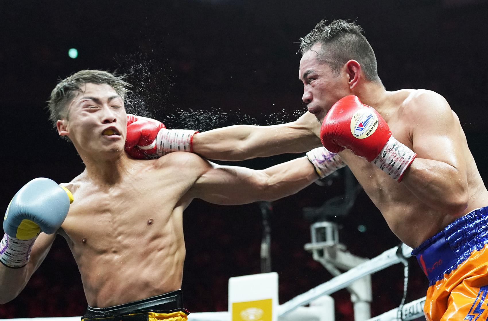 Naoya Inoue (left) vs. Nonito Donaire. Photo by Naoki Fukuda