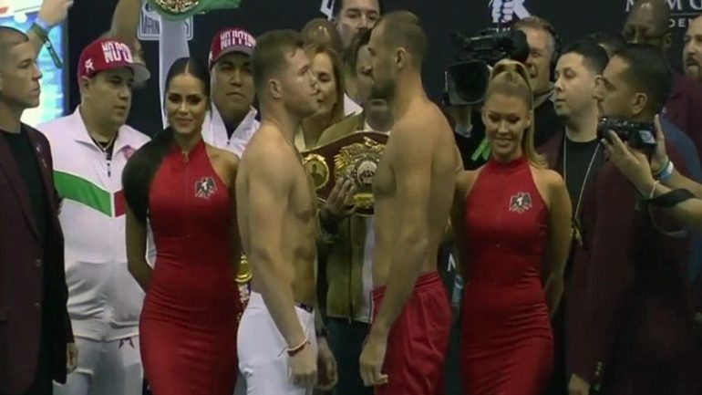 Sergey Kovalev needs two trips to make 175 pounds; Canelo comes in under