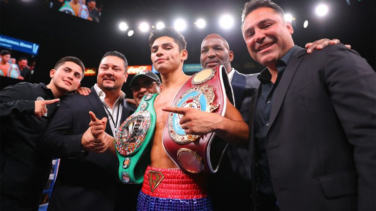 Ryan Garcia blasts Romero Duno in opening round of Canelo-Kovalev co-feature