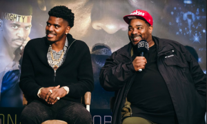 Maurice Hooker and Brian McIntyre, his trainer, at Feb. 27 press conference in Texas.