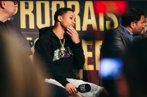 Regis Prograis at Feb. 27, 2020 press conference ahead of Hooker fight.
