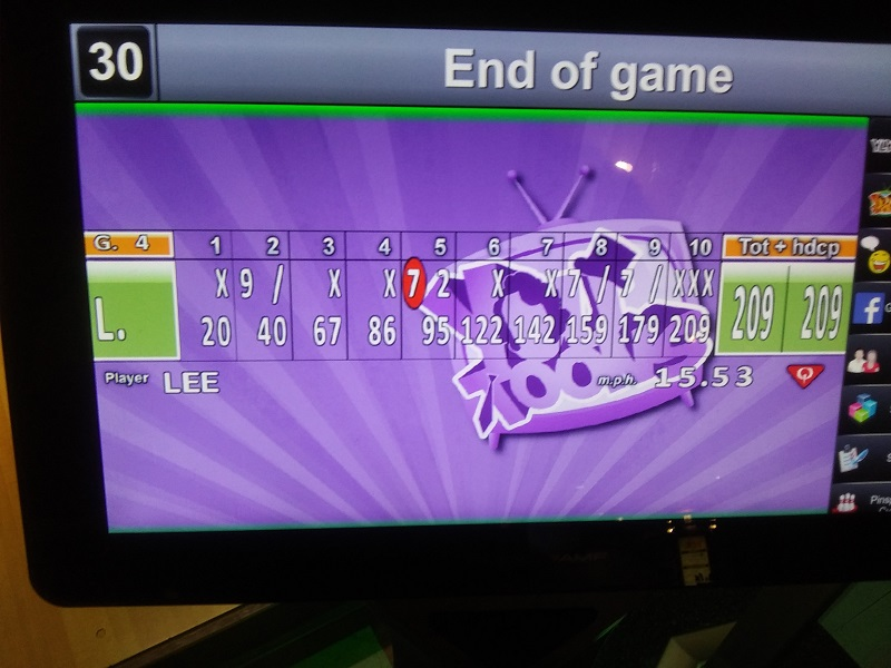 Proof positive that familiarity breeds excellence. The Travelin' Man's fourth and final game at the bowling alley inside Sam's Town Resort & Gambling Hall proved to be his best as his 209 score included three consecutive strikes in the 10th and final frame. Photo credit: Lee Groves