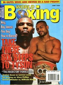 Jones vs Tyson World Boxing 222x300 - Mike Tyson gets candid, philosophical before his Nov. 28th exhibition with Roy Jones