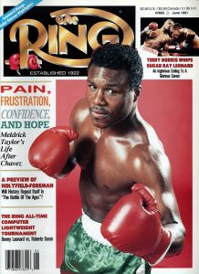Meldrick Taylor June 1991 Ring cover Ring GettyImages 218x300 - Jake LaMotta proved boxing's Hail Marys unlike those in any other sport