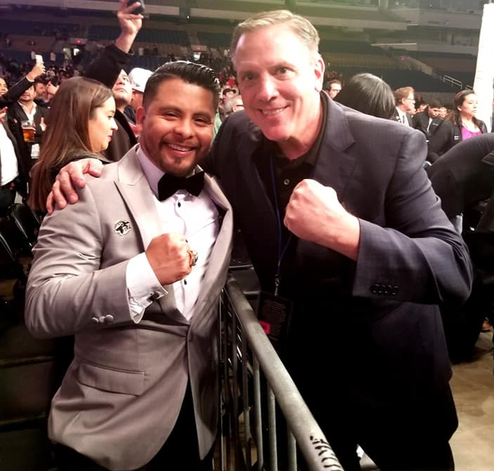 Jeremiah Gallegos (left) and Golden Boy Promotions' Chief Operating Officer Robert Gasparri. Photo courtesy of Jeremiah Gallegos