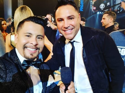 Jeremiah with Golden Boy Oscar De La Hoya at first ever Golden Boy Facebook Watch show - Jeremiah Gallegos and his winning battle against Bell's palsy