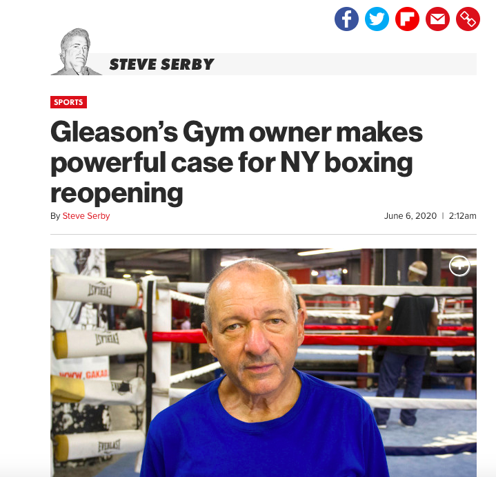 Steve Serby of the NY Post spoke to Bruce Silverglade, who is asking Governor Cuomo to allow Gleason's Gym to open to pros, the same way pro basketball and hockey teams can re-open in New York.