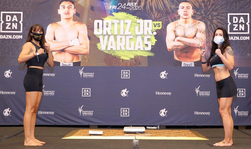 EstradaAdkinsWeighIn Hoganphotos 1024x610 - Photos: Vergil Ortiz, Samuel Vargas make welterweight limit for Golden Boy return