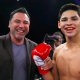 Ryan Garcia sparring outside the ring, with promoter Golden Boy