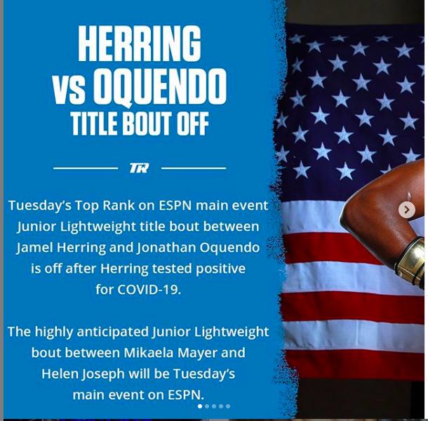 The Jamel Herring vs. Jonathan Oquendo fight was put off twice.