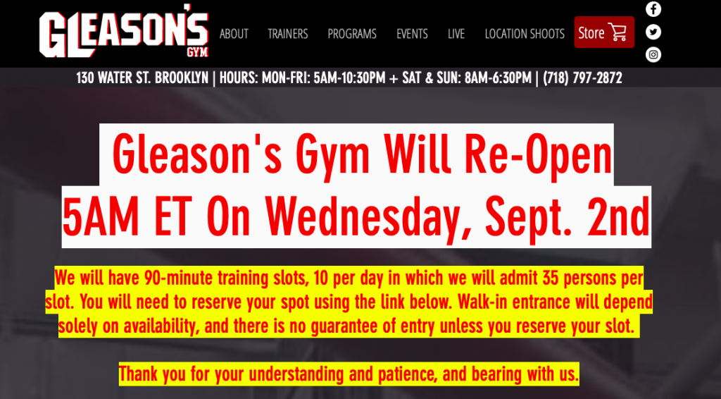 Screen Shot 2020 08 29 at 2.31.14 AM 1024x566 - For real, Gleason's Gym in Brooklyn re-opening Sept. 2, at 5 AM