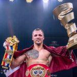 Briedis celebrates 150x150 - Mairis Briedis, the new Ring Magazine champion and Ali trophy winner, takes his bows