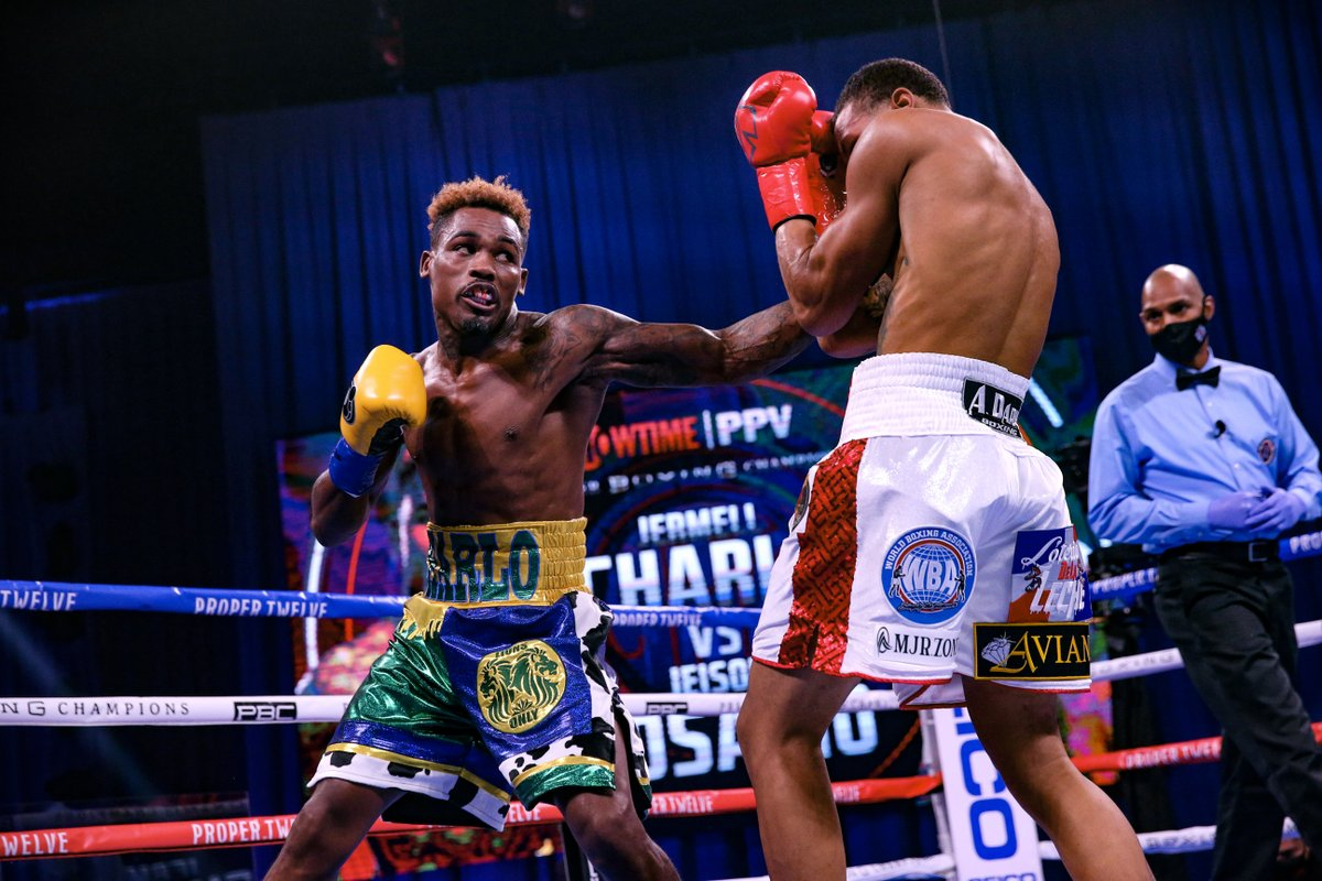 Jermell Charlo stops Jeison Rosario in eight, unifies three belts, wins Ring Magazine 154-pound titl