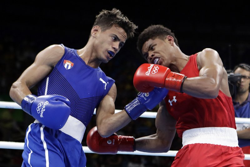 Robeisy Ramirez (left) vs. Shakur Stevenson. Photo credit: AP Photo/Frank Franklin II