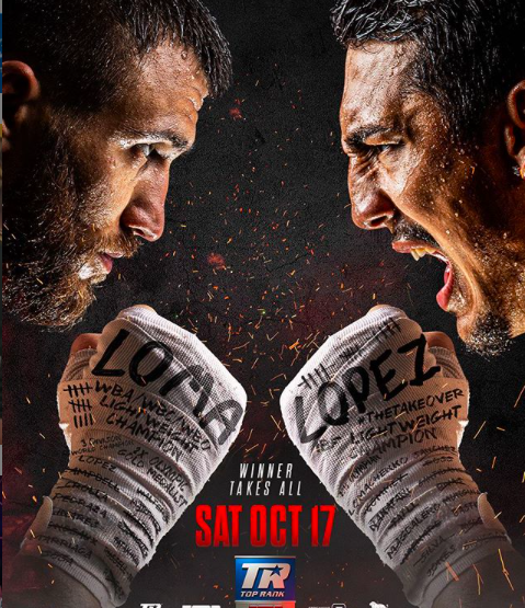 Teofimo Lopez, age 23, fights Vasiliy Lomachenko, age 32, Oct. 17, 2020, for lightweight bragging rights.
