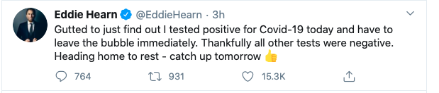 Screen Shot 2020 10 01 at 7.54.51 PM - Promoter Eddie Hearn Twitter account shares news of Hearn testing COVID positive