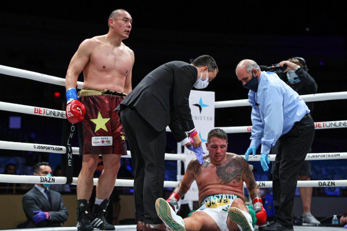 ENM13174 - Heavyweights Filip Hrgovic, Zhang Zhilei score knockouts on Haney-Gamboa undercard