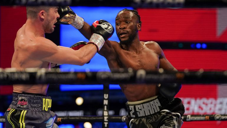 Denzel Bentley stops Mark Heffron after four rounds to win British middleweight title