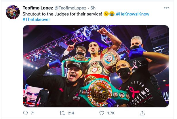 Lopez counter punched Lomachenko with humor.
